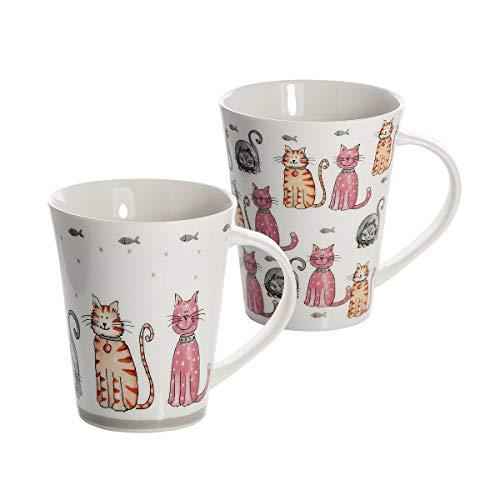 Katze Kaffeebecher Tassen Set 2 Kaffeetasse Teebecher Teetassen Lustig Keramik Porzellan Katzenmotiv Katzen Assesoires Geschenk für Katzenliebhaber Geschenke Katzenfreunde Katzenbesitzer