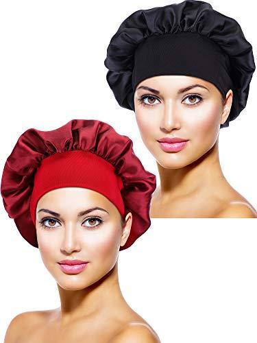 2 Stücke Satin Bonnet Nacht Schlaf Mütze Schlaf Kopf Abdeckung für Damen Mädchen Schlafen (Schwarz, Weinrot) Satin Hair Wrap