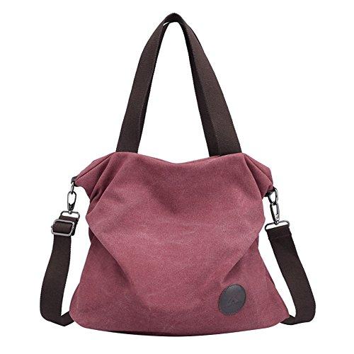 PB-SOAR Damen Canvas Tasche Schultertasche Handtasche Umhängetasche Shopper Beuteltasche 41x36x10cm (B x H x T), 5 Farben auswählbar (Fuchsie)