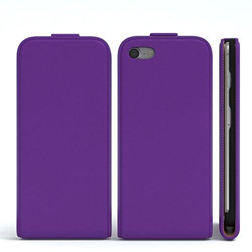 iPhone 8 Hülle / iPhone 7 Hülle - EAZY CASE Premium Flip Case Klapphülle für Apple iPhone 7 & iPhone 8 - Edle Schutzhülle aus Leder mit Magnetverschluss in Schwarz Lila