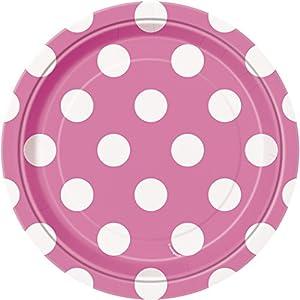 Unique Party- Paquete de 8 platos de papel a lunares, Color rosa oscuro, 37484)