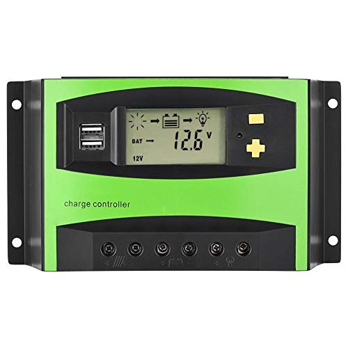 Zerone Solar Charge Controller Solar Panel Akku Intelligente Regulator mit Dual USB-Port und LCD-Display, 20 A/30 A/40 A/50 A/60 A PWM Solar Ladegerät Controller, 90 A (Usb-port Solar-panel)
