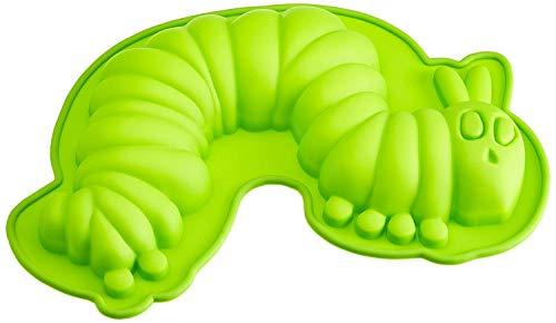 Raupe Nimmersatt Geda Labels GmbH 20555 - Molde para Tarta de Silicona con Forma de Oruga, Color Verde...