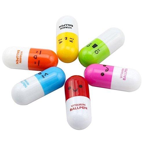 Mini penne retrattili a forma di pillole, confezione da 6, colore: Multicolore 6pcs