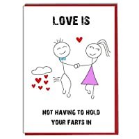 Love is Not Having to Hold Your Farts in - Funny, Rude Character Card -Love Card - Girlfriend - Boyfriend - Lover - Partner