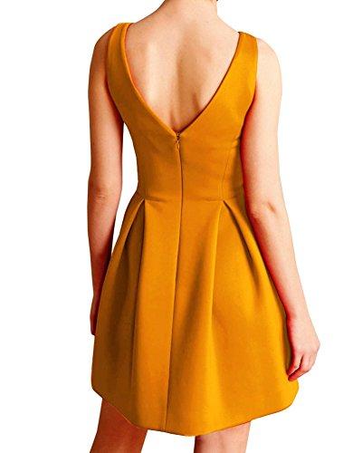 LaoZan Donna Vestito corto Senza maniche elegante Hepburn Stile Abito da Retro Profondo-V collo Giallo