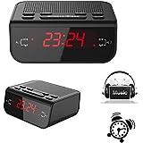 Reloj despertador digital con LED Pantalla (Fácil de leer, Batería de Reserva, Radio AM/FM, Función del Sueño y Snooze)