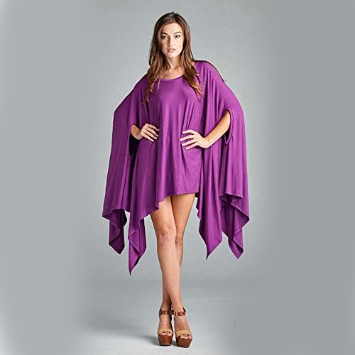 Minetom Femmes Manches Longues Tunique Pullover Jumper Blouse Asymmetric Tops Loose Chemisier Chemise Casual Robe Violet