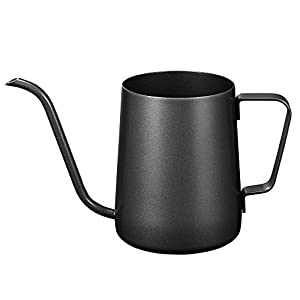 Kaffeekanne mit Schwanenhals und langem schmalen Ausguss, Edelstahl 350ML Schwarz