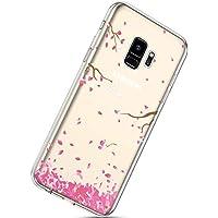 Handyhülle Samsung Galaxy S9 Durchsichtig Silikon Schutzhülle Kratzfeste Kristall Transparent Silikonhülle Crystal Clear TPU Bumper Case TPU Cover Weich Hülle,Rosa Kirschblüten