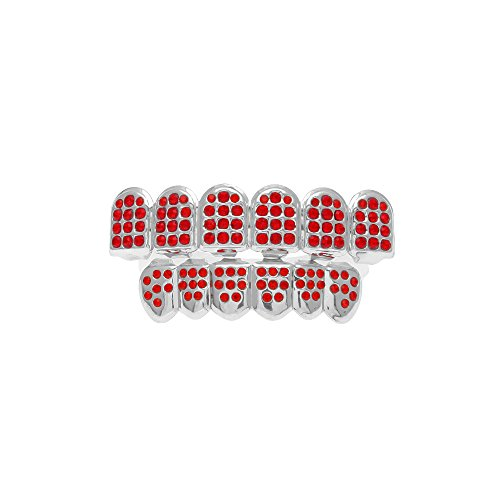 Die Für Custom Zähne Grill (MCSAYS Hip Hop CZ Rote Kristallzähne Grillz Caps Top & Bottom Bling Grills Set)