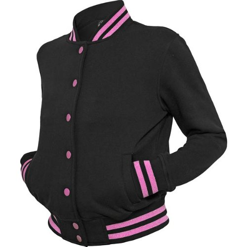 Urban Classics Ladies Metallic College Sweatjacket Damen schwarz-pink black/fuchsia, L