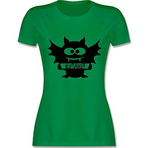 Halloween - Fledermaus - tailliertes Premium T-Shirt mit Rundhalsausschnitt für Damen Grün