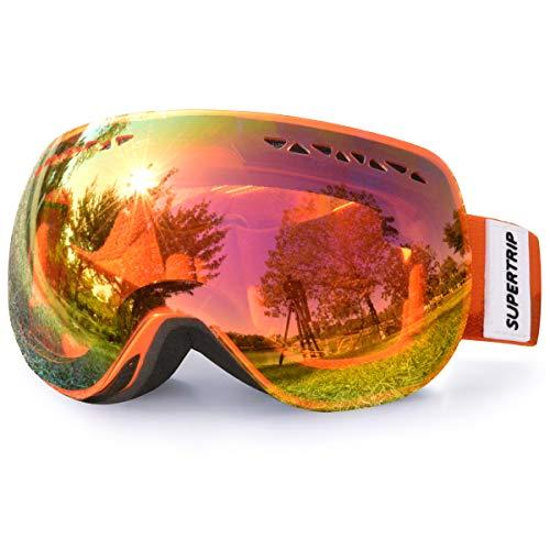 Supertrip Skibrille Damen Herren Snowboardbrille OTG verspiegelt Ski-Schutzbrillen 100{457fb0410ba9a8d09cb5f86efa1a250e1395efe6dd1aafac33c0b69ca4caf096} UV400 Schutz für Brillenträger Antifog (Orange Revo Rot (VLT 31{457fb0410ba9a8d09cb5f86efa1a250e1395efe6dd1aafac33c0b69ca4caf096}))