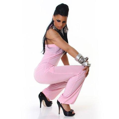 Jela London Damen Bandeau-Overall lang einfarbig (34-38) Rosa