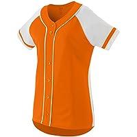 Augusta Sportswear Girls\' Winner Softball Jersey S Power Orange/White