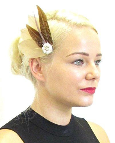 Marron Caramel Faisan plumes à cheveux vintage mariée Ivoire 40S 175 * * * * * * * * exclusivement vendu par – Beauté * * * * * * * *