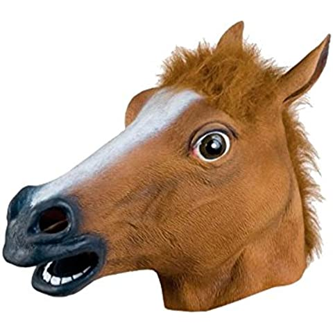 MissFox Halloween Mascherata Cavallo Mascherare Costume Festa Cavallo Testa Mascherare Marrone - Grande Testa Di Cavallo