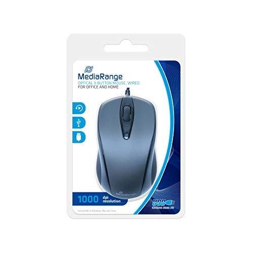 MediaRange Optische 3-Tasten Maus, mit Kabel, schwarz/grau -