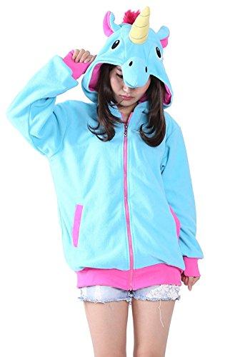 Wamvp Tier Kostüm Zip Hoodie Damen Sweatshirt Herren Fastnachtskostuem -Blaues Einhorn S