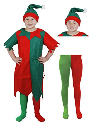 Childs Elf Weihnachten Kostüm Kinder, Grün Rot langen Tunika + Hat + Strumpfhosen Cheeky Elf Santa 's Little Helper Elfen in Jahren 3-13 Gr. XL, red,green