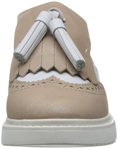 Mocassini per donna in pelle taupe e bianco con lavorazione duilio e frangia Taupe white