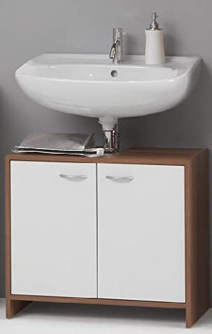 MADRID Premium Bathroom Under-Sink Cabinet Unit in White and Walnut Finish by DMF