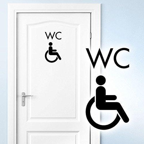 Grandora Türaufkleber WC Rollstuhl I hellgrau (BxH) 10 x 19 cm I Behinderten Klo Toilette Badezimmer Bad Wandtattoo Wandaufkleber Wandsticker W5395