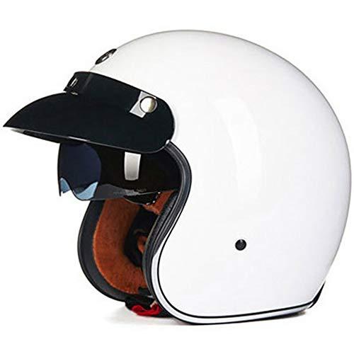 Motorradhelm Jet Vintage Helmet Herren Damen mit Integriertem Sonnenvisier UV schutzbrille Schnellverschluss für Pedallokomotive Cruiser Roller Chopper ECE/DOT-Zertifizierung -