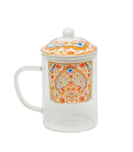 Duo Tee-Tasse Tee-Glas Teebecher Set mit Sieb und Deckel Porzellan Teetasse Geschenk-Tasse Cup with Porcelain Infuser 450 ml Geschenkbox