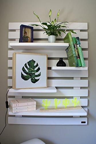 Liza Line ESTANTERÍA de Pared, Librería Decorativa Regulable con 4 Estantes Flotantes, Madera de Pino Macizo, 101x80x21 cm (Blanco)