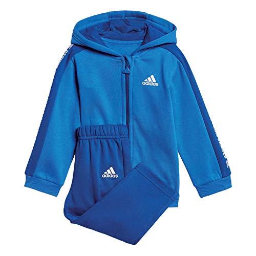 adidas Baby 3 Stripes Full Zip Hooded Fleece Trainingsanzug, Blue/Collegiate Royal/White, 98