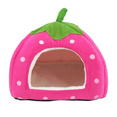 Busirde Bett Erdbeere Zelt Haustiere Hund Katze Haustier-Bett-Haus Warm Plüsch Tier Snuggle Kennel Green Leaf Griff Rose rot 40 * 40 * 34cm (Mädchen Kleine Hund Bett)