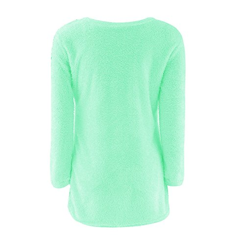 Malloom Chemisier Femmes Casual Solid Long Pull Manches Longues Vert