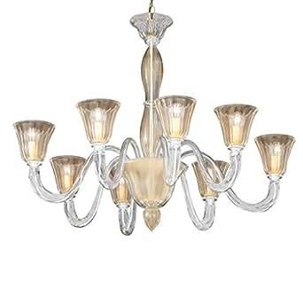 'Ideal Lux CA FOSCARI SP8Surface E14Or, transparent lampe à suspension