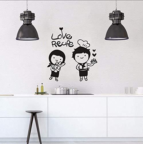 Dalxsh Niedlichen Chef Boy Gril Vinyl Wandaufkleber Liebe Koch Liebe Rezept Wandtattoo Küche Decor Chef Wand Poster Tür Fenster Aufkleber 39x42 ()