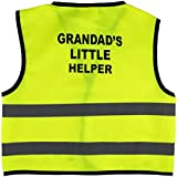 Unisex Childs Hi Vis Vest Kids High Visibility Waistcoat With Grandad's Little Helper Writing At the Back