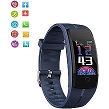 Teepao IP67fitness tracker, sfigmomanometro QS100Smart Watch con cardiofrequenzimetro, Touch Screen a colori attività sport Watch GPS Tracker per iOS iPhone Android Blue