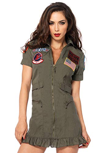 Top Gun Flight Kostüm - Leg Avenue Damen 2 Stück Top Gun Flight Reißverschluss vorne Kleid mit Aviator Gläser Gr. Small, mehrfarbig
