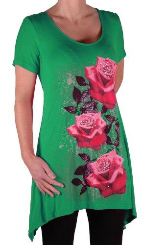 EyeCatch Plus - T Shirt manches courtes motif roses - Femme - Plusieurs Tailles et Couleurs Jade Vert