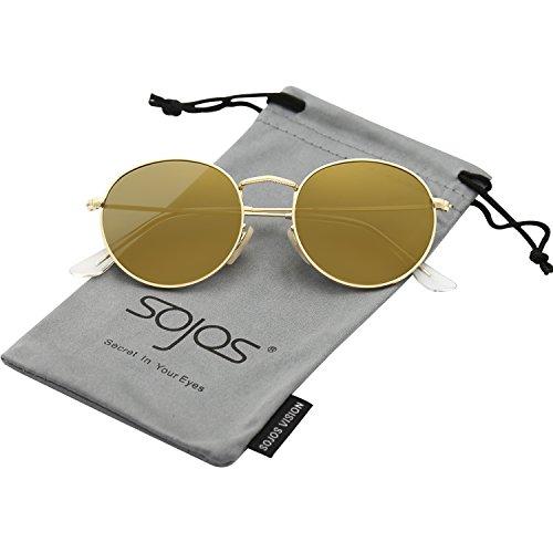 SOJOS Mode Rund Polarisiert Damen Herren Sonnenbrille Linsees Unisex Sunglasses SJ1014 mit Gold Rahmen/Gold Linse