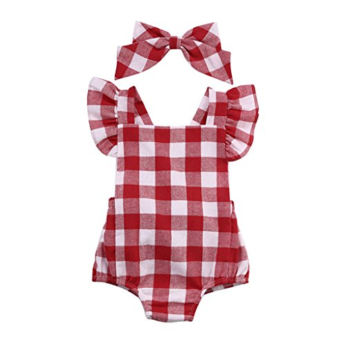 SHOBDW Girls Clothing Sets, Newborn Baby Girl Cotton Lattice Bowknot Clothes Bodysuit Romper Jumpsuit Outfit Set