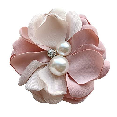 Nowbetter Damen-Brosche Kamelie Blume Braut Kleid Boutonniere Perlen Hals Krawatte Brosche Anstecknadel Hochzeit Party Decor, Rose, 8.5cm-9cm
