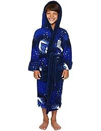 Doctor Who Bathrobe, Kids Tardis & Dalek Hooded Fleece Dressing Gown Robe Blue, Medium, Age 7 - 9