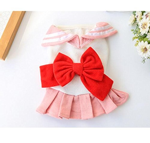 Xinjiener Hundepullover Haustierkleidung Nette Reine College-Mädchen-Rock-Katzen-Hundekleidung rosa S (Für College-mädchen Kostüme)