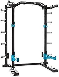 CAPITAL SPORTS Amazor H Jaula musculación profesional (Soportes de seguridad, ganchos en J, 2 barras dominadas, soporte barra pesas, altura regulable, acero macizo)
