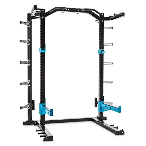 Capital Sports Amazor H Kraftstation Käfig - Power Rack, Power Cage, Gewichthebe- und Klimmzugübungen, höhenverstellbare J-Cups, Safety Spotter, Klimmzuggriffe, Stahlrahmen, schwarz-blau