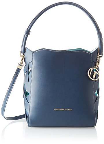 Trussardi Jeans Dahlia Smooth Ecoleather/printed Canvas Hobo Bag, Sacs bandoulière femme, Bleu (Blue Navy), 30x31x19 cm (W x H L)