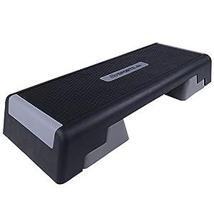 ScSPORTS® Stepper, Stepbench, Aerobic-Fitness-Steppbrett, 2-Fach höhenverstellbar, 88 x 32 x 16/25 cm, schwarz grau