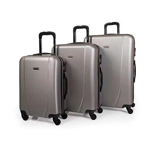Juego de 3 maletas ABS Itaca - Plata